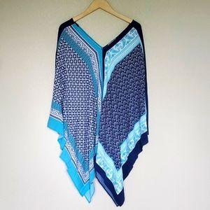 VIP by AVENUE blue swim cover beach wear scarf top